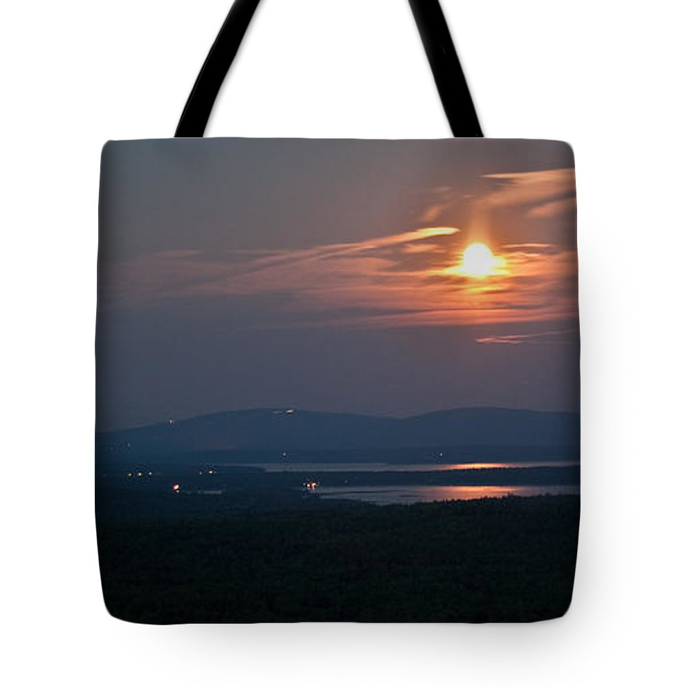 Moon Tote Bag featuring the photograph Full Moon Over Acadia I by Greg DeBeck