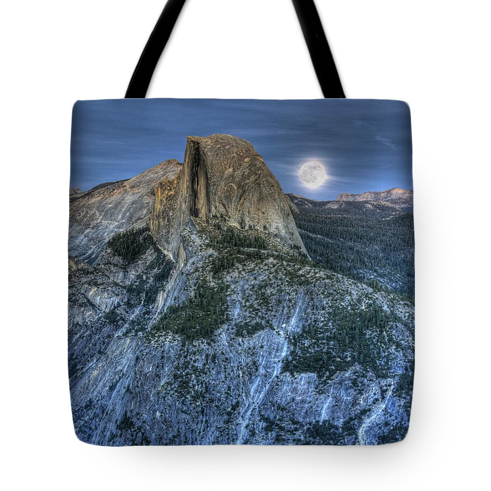 Half Dome Tote Bag featuring the photograph Full Moon Rising Behind Half Dome by Jim And Emily Bush