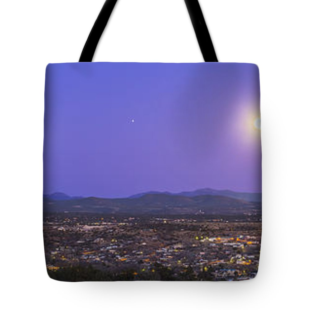 Full Moon Tote Bag featuring the photograph Full Moon Rising Over Silver City, New by Alan Dyer