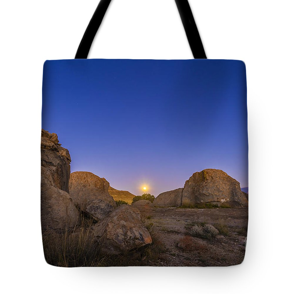 City Of Rocks State Park Tote Bag featuring the photograph Full Moonrise At City Of Rocks State by Alan Dyer