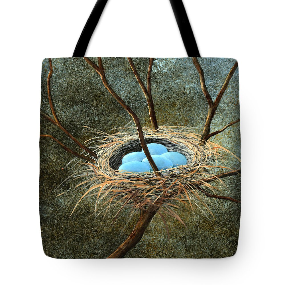 Birds Nest Tote Bag featuring the painting Full Nest by Frank Wilson