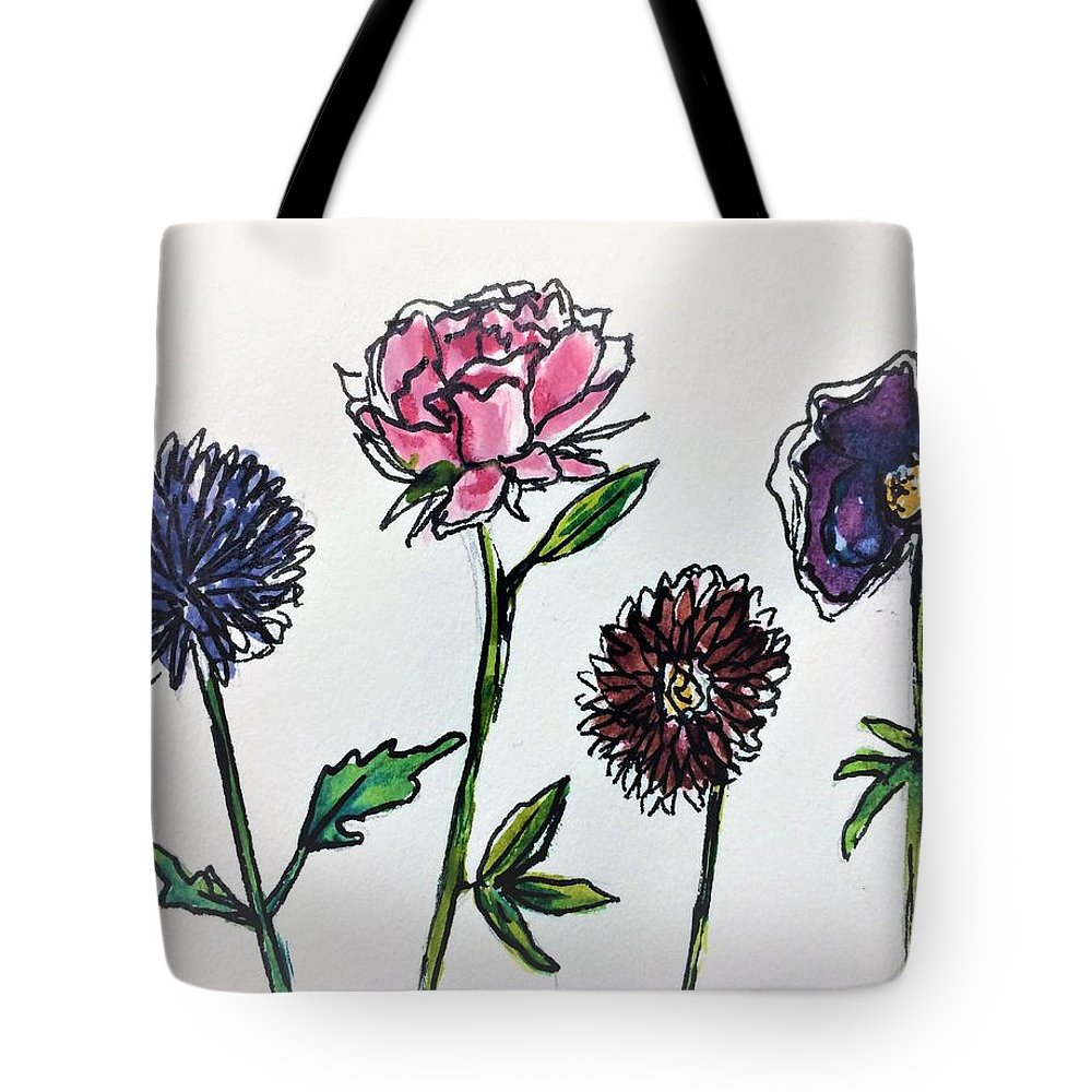Watercolour Tote Bag featuring the mixed media Four Flowers by Navya Saini