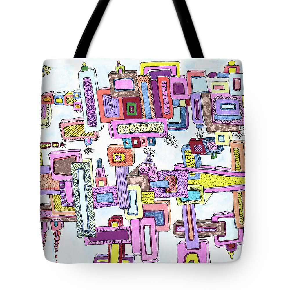Shapes Tote Bag featuring the painting Fun by Rheba McMichael