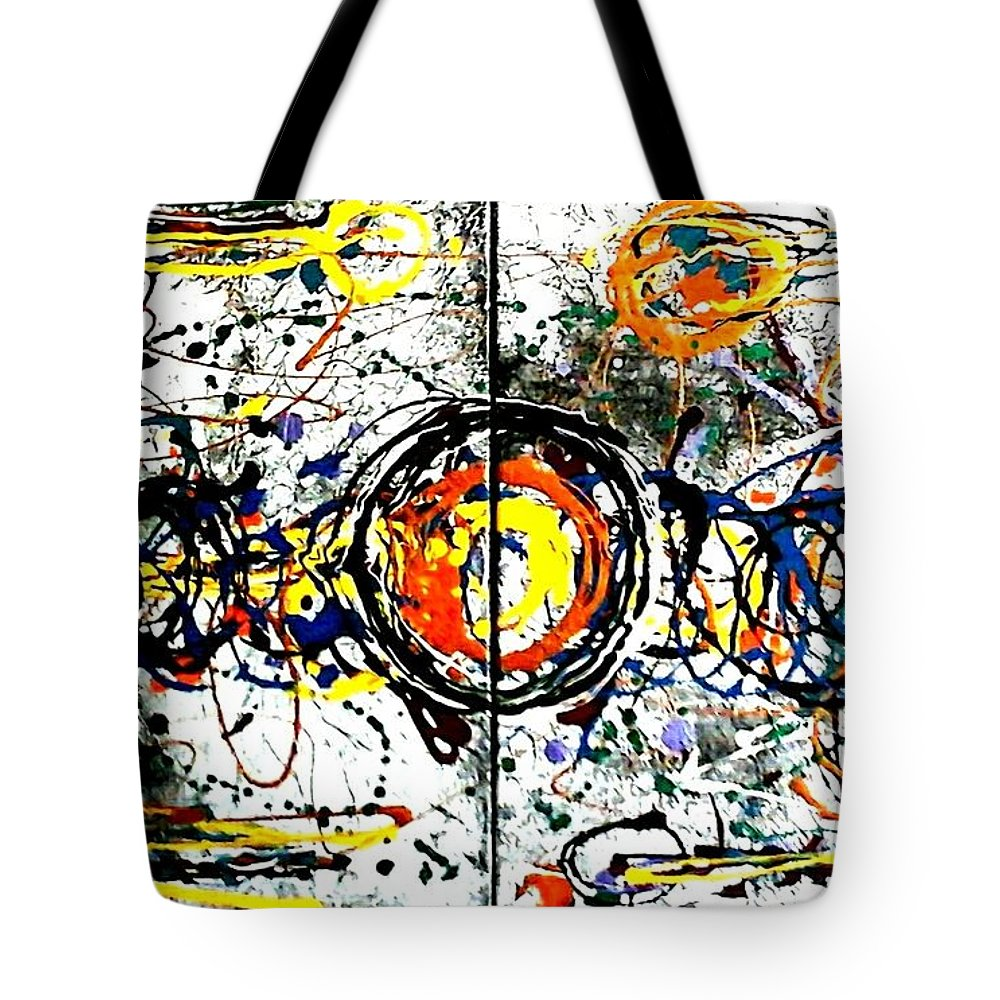 Abstract Tote Bag featuring the painting Fun Zone. by Rosa Lopez