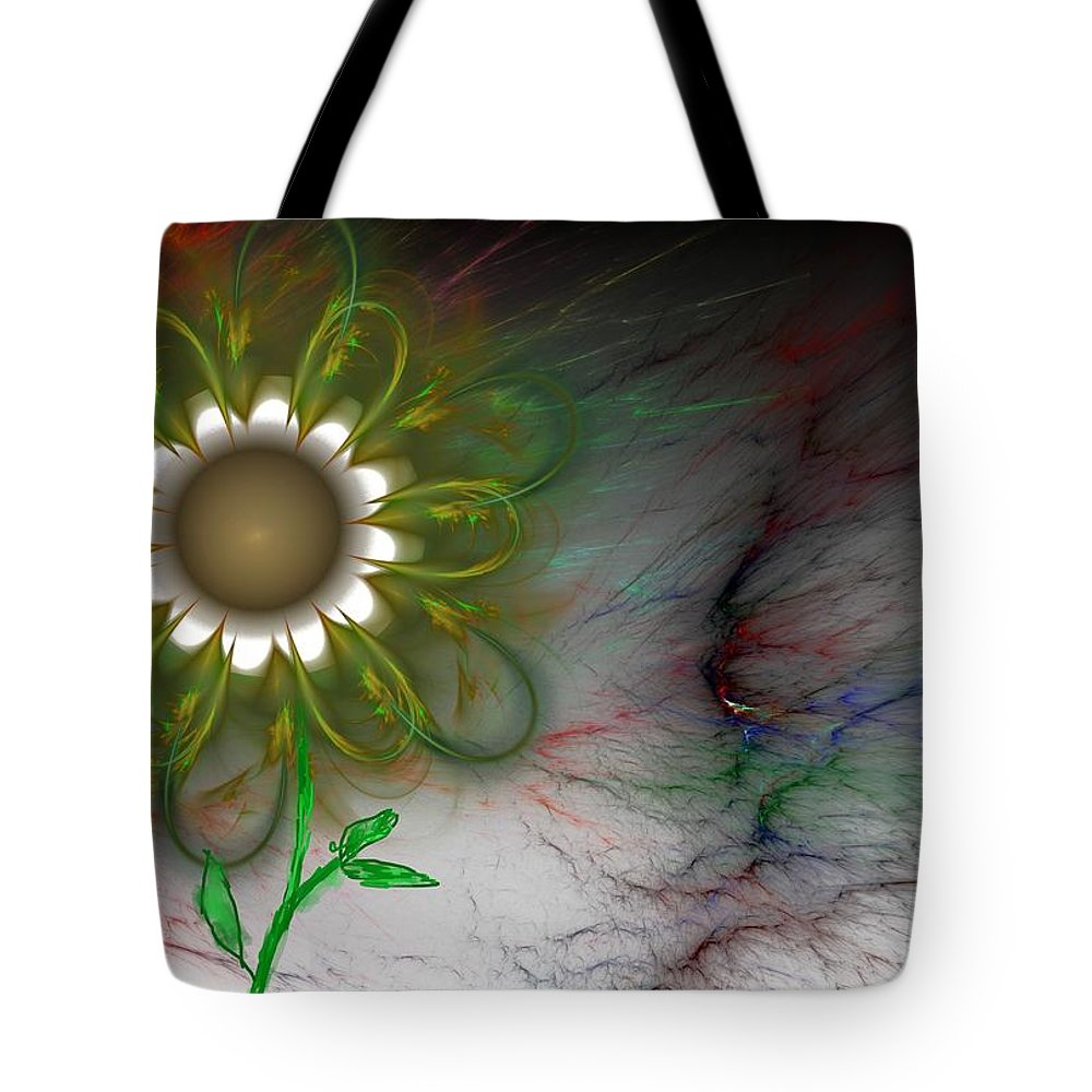 Digital Photography Tote Bag featuring the digital art Funky Floral by David Lane