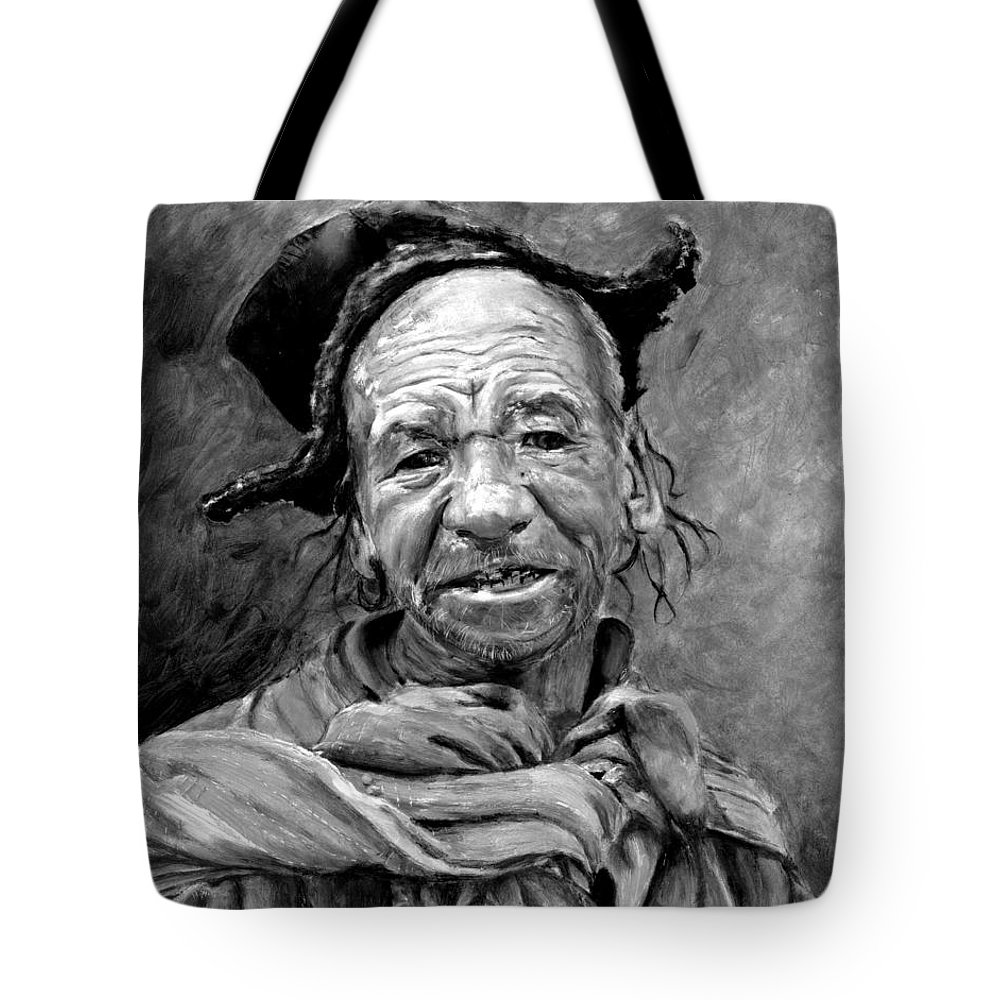 Man Tote Bag featuring the painting Funky Hat by Enzie Shahmiri