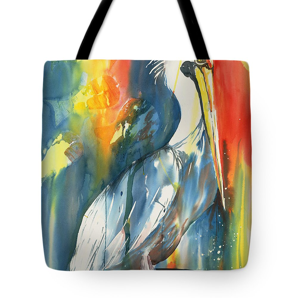 Birds Tote Bag featuring the painting Funky Pelican by Tara Moorman