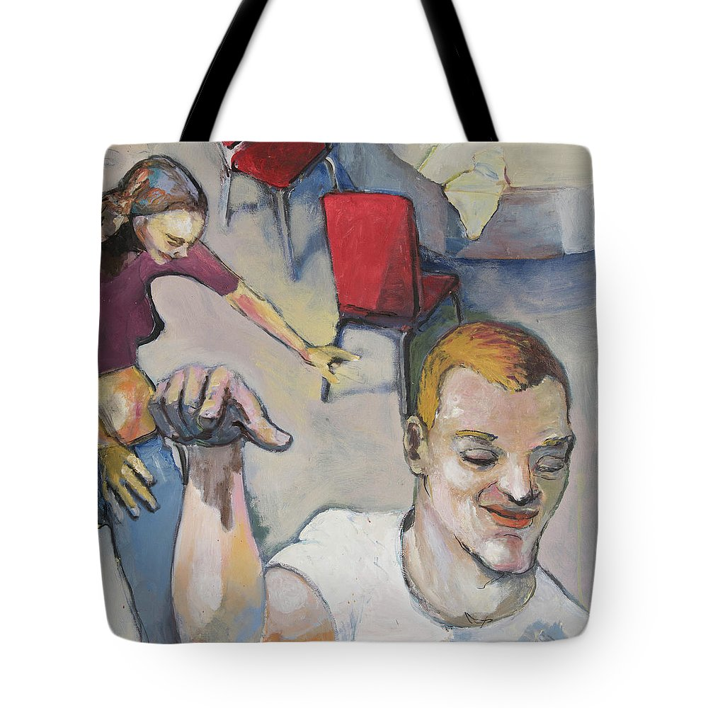 Couple Tote Bag featuring the painting Funny Couple by Craig Newland