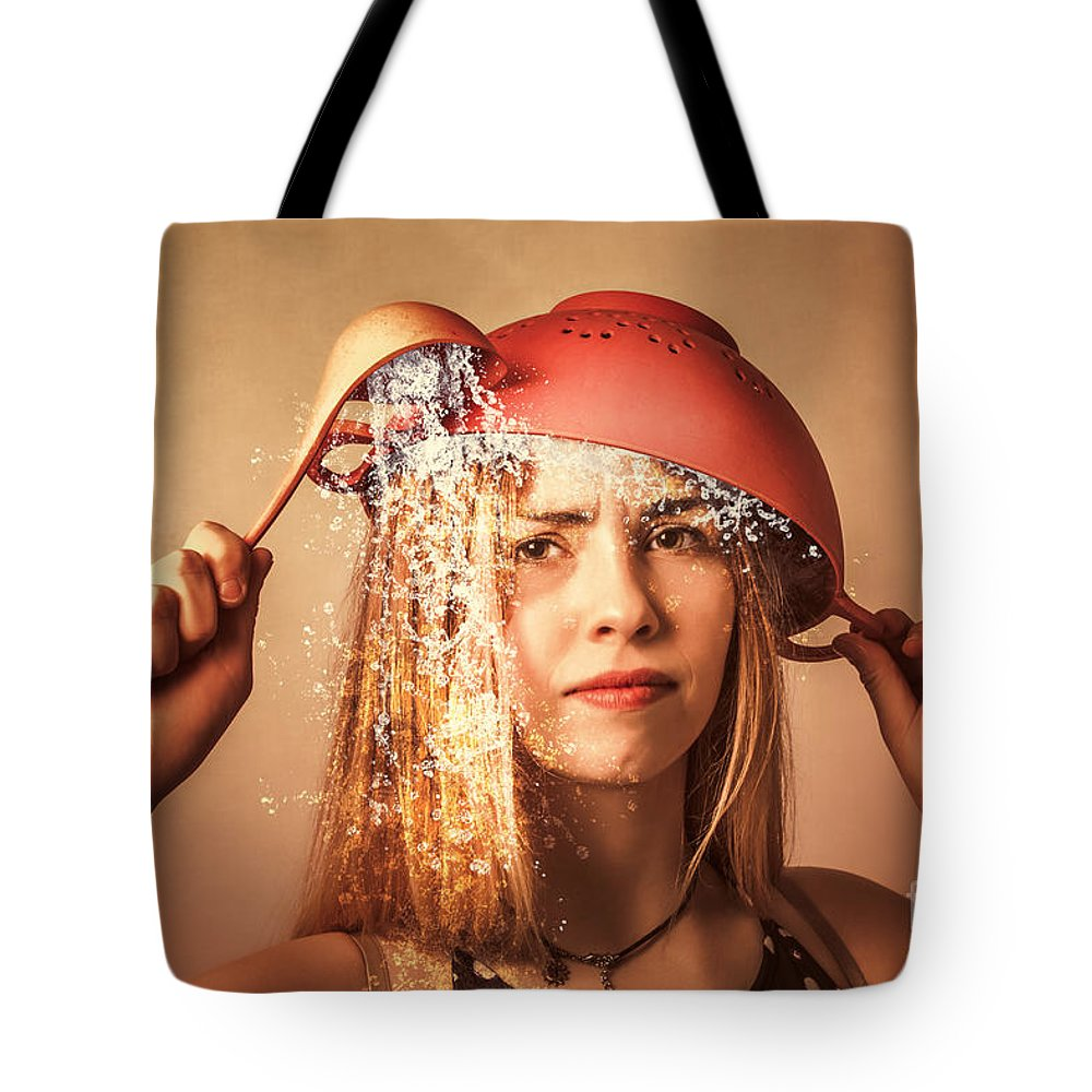Cooking Tote Bag featuring the photograph Funny Creative Cooking Pinup Girl by Jorgo Photography - Wall Art Gallery