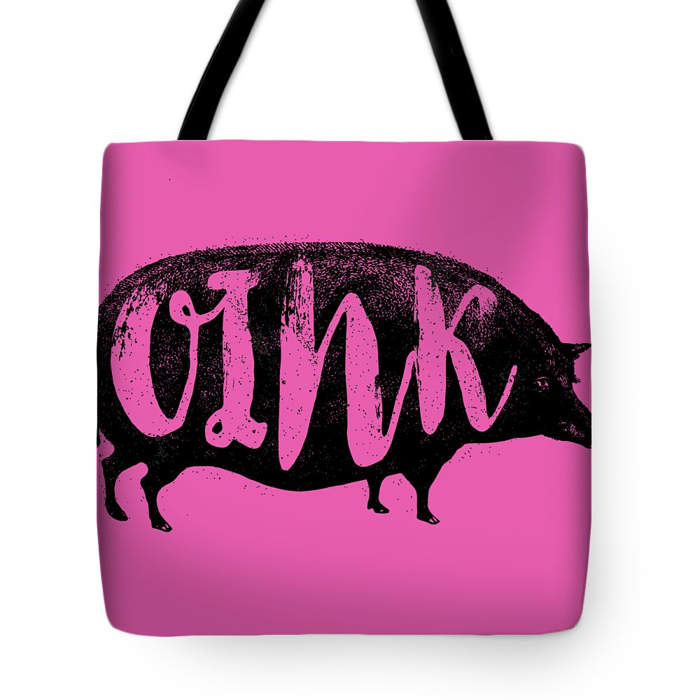 Pig Tote Bag featuring the digital art Funny Oink Pig by Antique Images