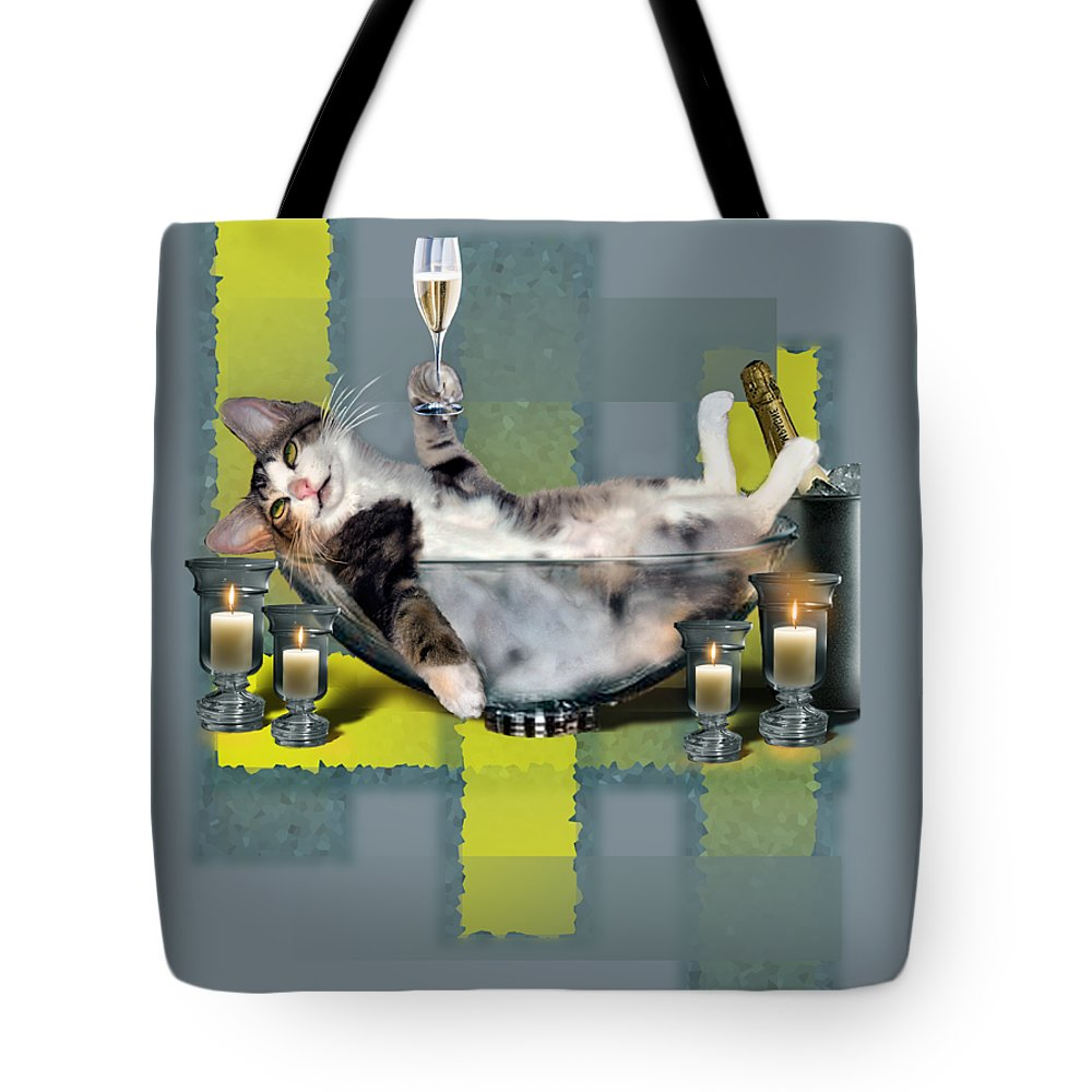 Funny Pet Print Tote Bag featuring the painting Funny pet print with a tipsy kitty by Regina Femrite
