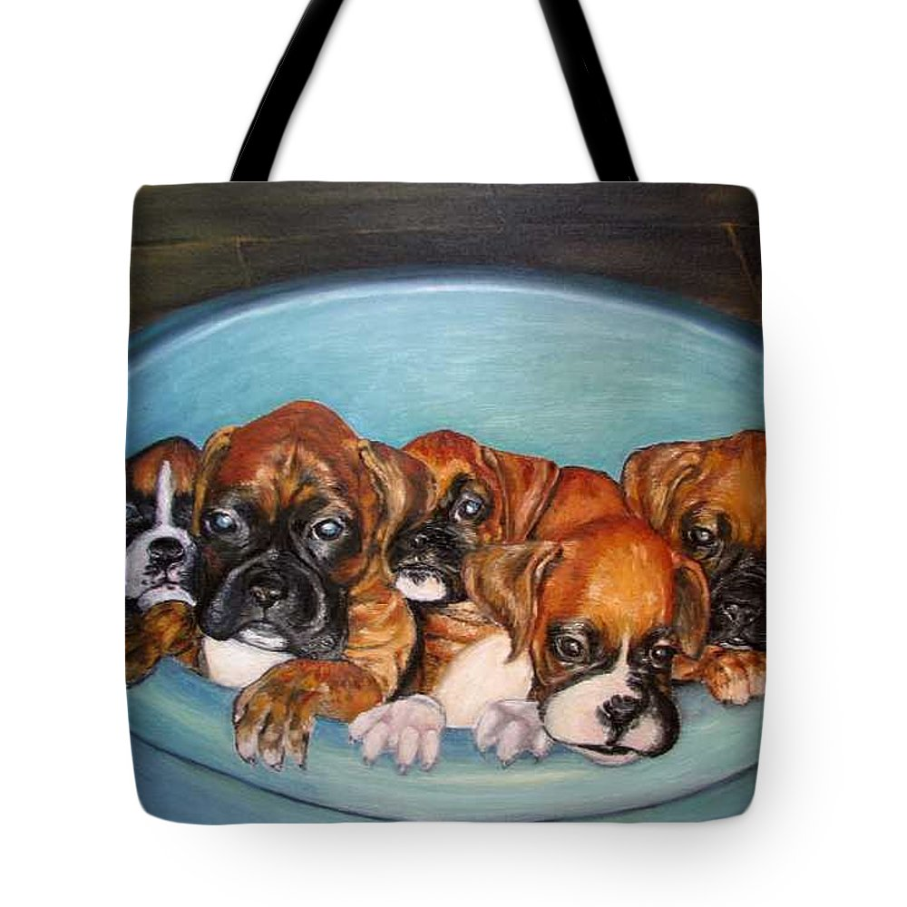 Oil Tote Bag featuring the painting Funny Puppies orginal oil painting by Natalja Picugina
