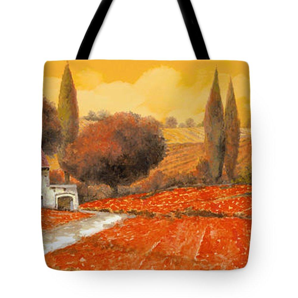 Tuscany Tote Bag featuring the painting il fuoco della Toscana by Guido Borelli