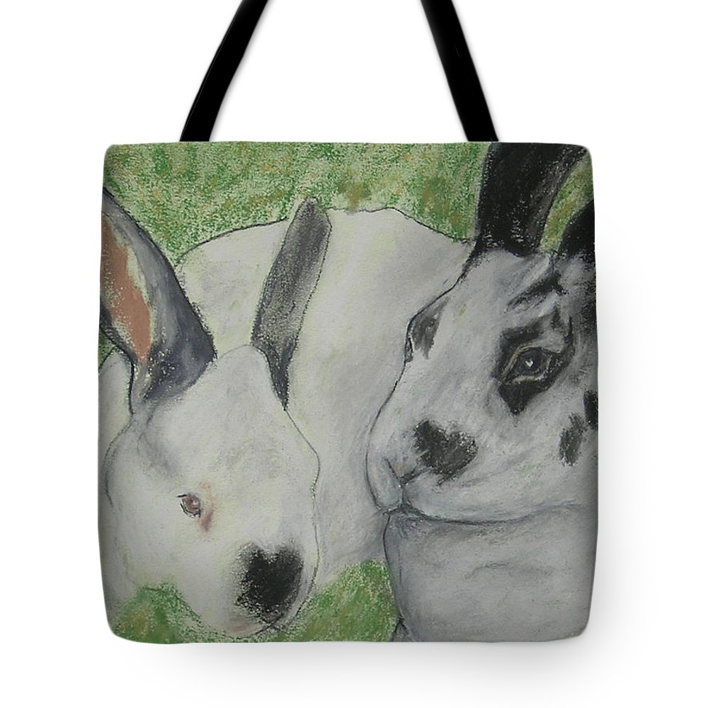 Bunny Tote Bag featuring the drawing Fur Balls by Cori Solomon