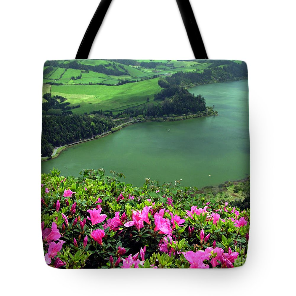Azaleas Tote Bag featuring the photograph Furnas Lake Azores by Gaspar Avila