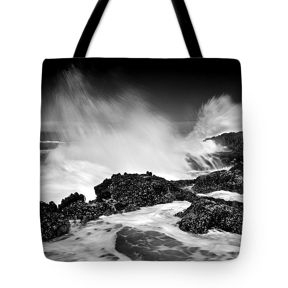 Waves Tote Bag featuring the photograph Fury by Mike Dawson