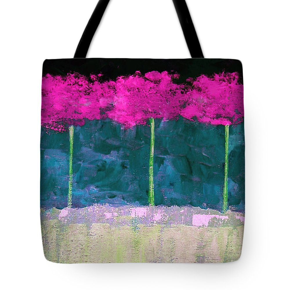 Abstract Tote Bag featuring the painting Fuschia Trees by Ruth Palmer