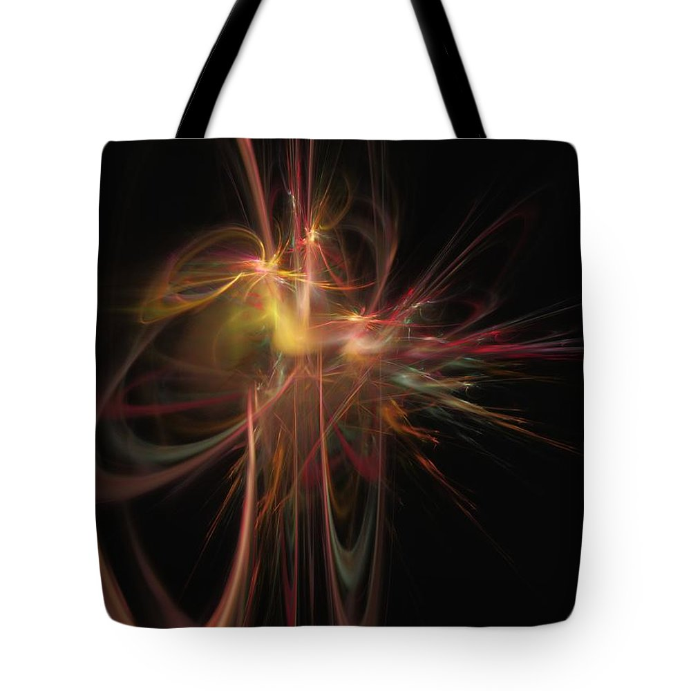 Abstract Digital Painting Tote Bag featuring the digital art Fusion by David Lane