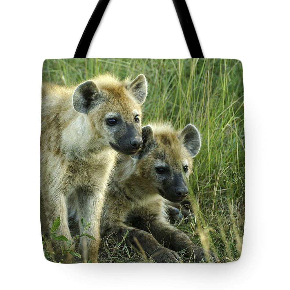 Africa Tote Bag featuring the photograph Fuzzy Baby Hyenas by Michele Burgess