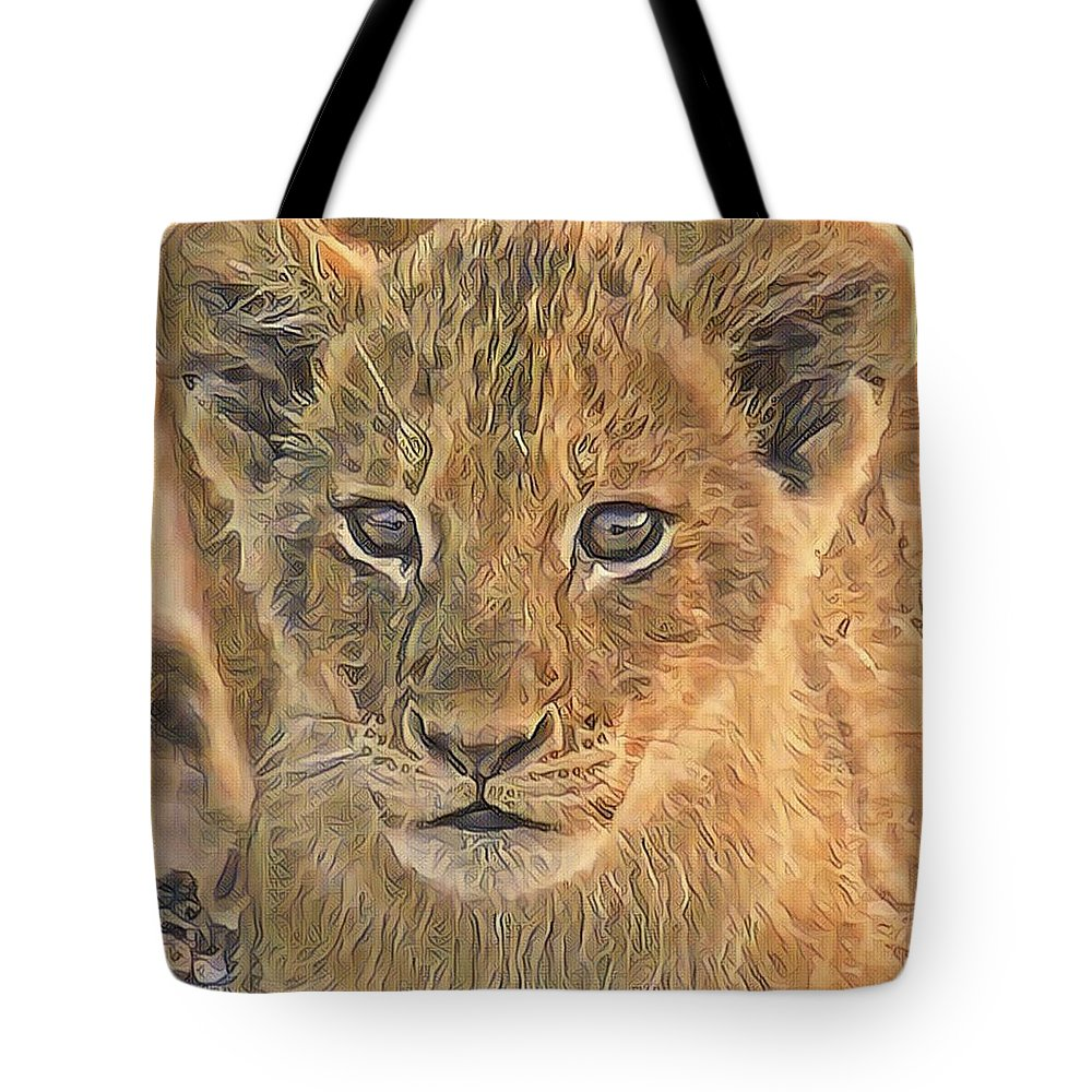 Lion Tote Bag featuring the photograph Fuzzy Cubby by Gini Moore