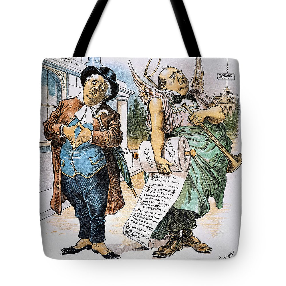 1892 Tote Bag featuring the photograph G. Cleveland Cartoon, 1892 by Granger