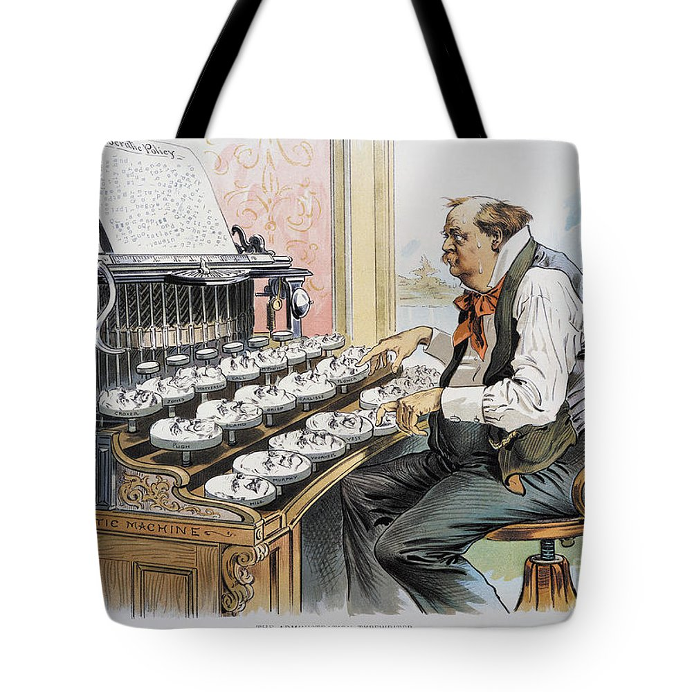 1893 Tote Bag featuring the photograph G. Cleveland Cartoon, 1893 by Granger