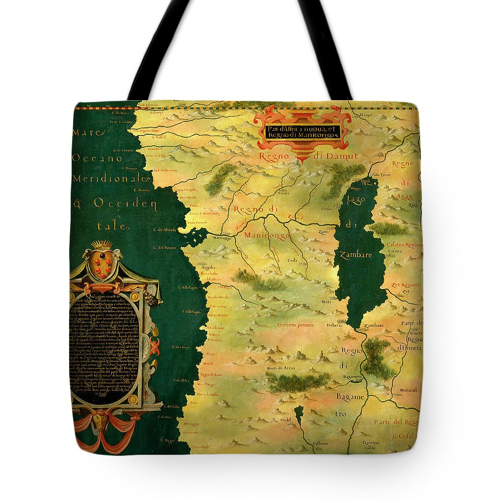 Map Tote Bag featuring the painting Gabon, Angola And Congo by Italian painter of the 16th century