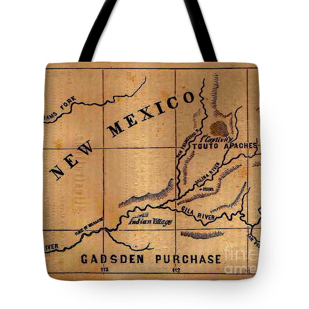 Gadsden Purchase 1850s New Mexico Map Tote Bag on alaska map, columbia river map, hawaii map, compromise of 1850 map, charleston map, magdalena de kino map, treaty of 1818 map, louisville purchase map, stephen austin map, mormon trail on a usa map, gadson purchase map, fort sumter map, texas annexation map, convention of 1818 map, great plains map, oregon country map, san francisco map, 13 colonies map, oregon territory map, republic of texas map,