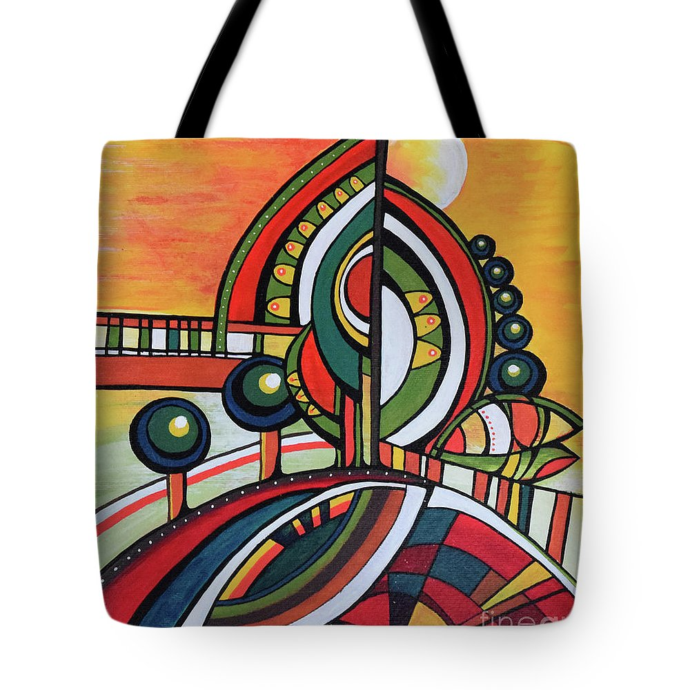 Original Painting Tote Bag featuring the painting Gaia's Dream by Aniko Hencz