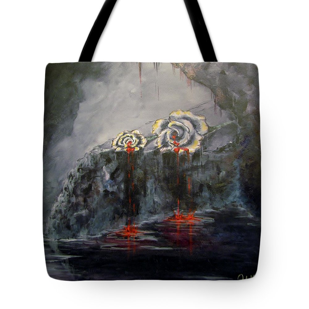 White/dying Roses; Tears Of Blood; Foggy Grotto Tote Bag featuring the painting Gaia's Tears by Patricia Kanzler