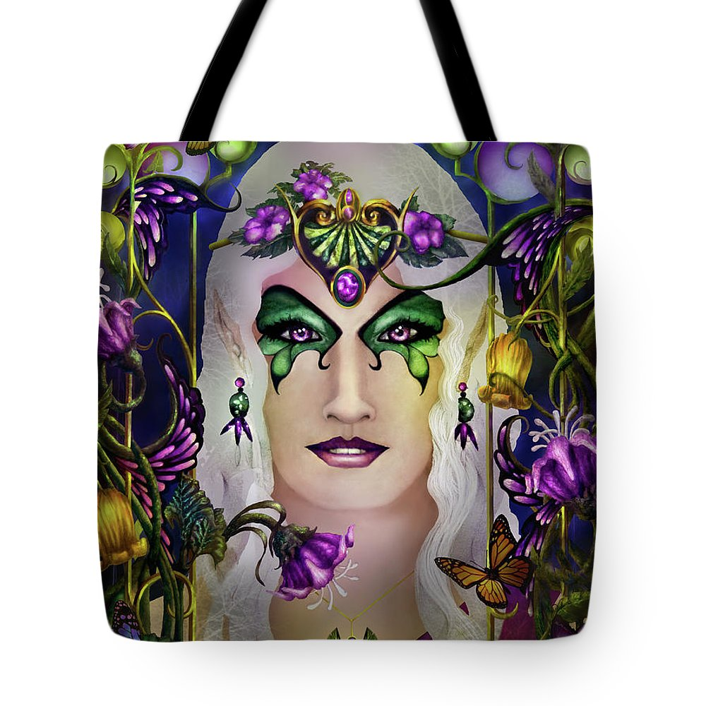 Tolkien Tote Bag featuring the painting Galadriel by Curtiss Shaffer