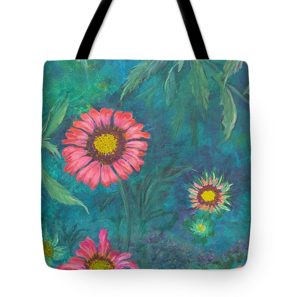 Garden Tote Bag featuring the painting Gallardia by Peggy King