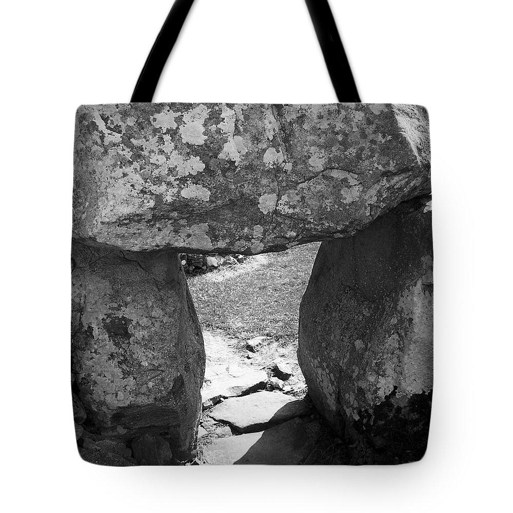 Ireland Tote Bag featuring the photograph Gallery Entrance At Creevykeel Court Cairn Ireland by Teresa Mucha