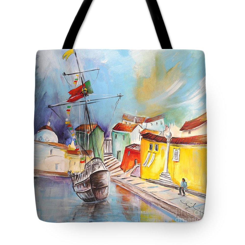 Portugal Tote Bag featuring the painting Gallion In Vila Do Conde by Miki De Goodaboom
