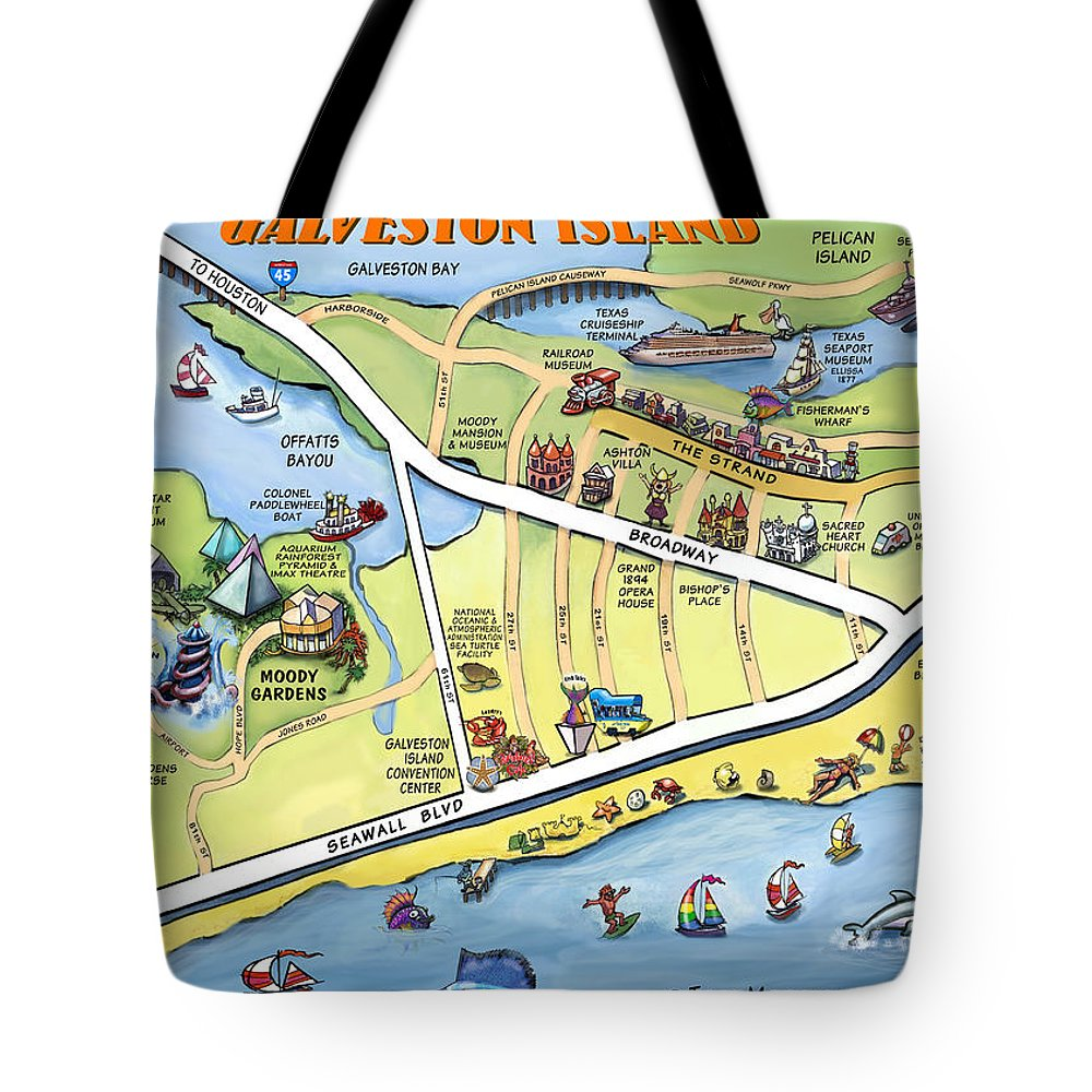 Galveston Tote Bag featuring the digital art Galveston Texas Cartoon Map by Kevin Middleton
