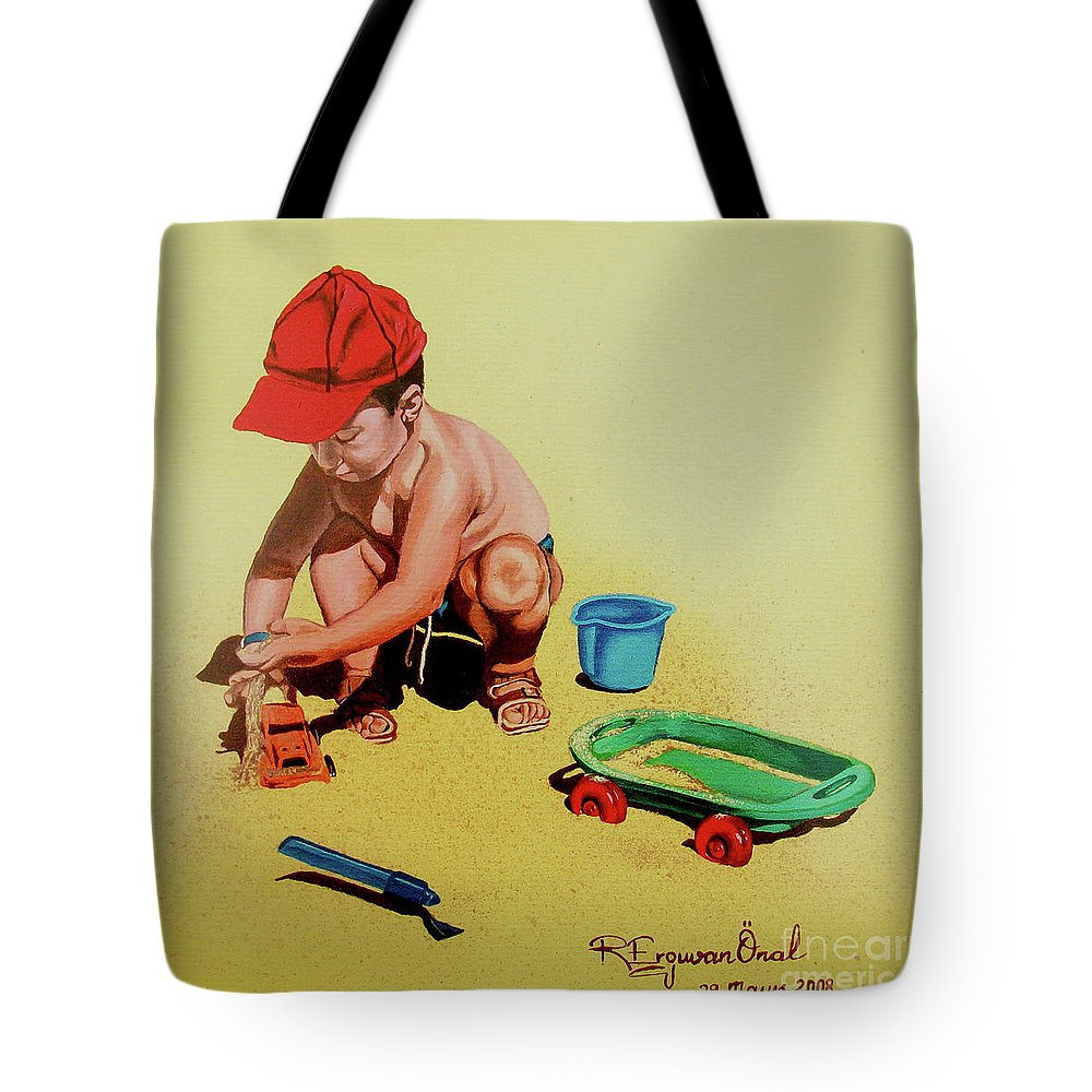 Beach Tote Bag featuring the painting Game At The Beach - Juego En La Playa by Rezzan Erguvan-Onal
