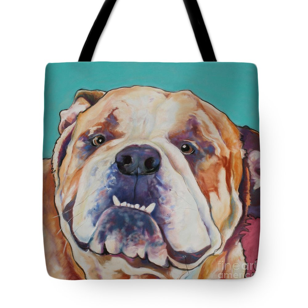 Pat Saunders-white Pet Portraits Tote Bag featuring the painting Game Face  by Pat Saunders-White