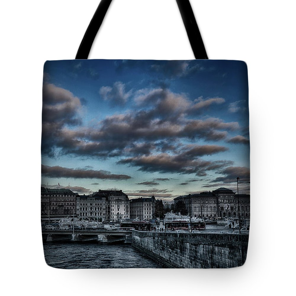 Stockholm Tote Bag featuring the photograph Stockholm In Dark by Ramon Martinez