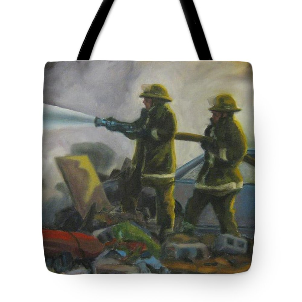 Firefighters Tote Bag featuring the painting Garage Fire by John Malone