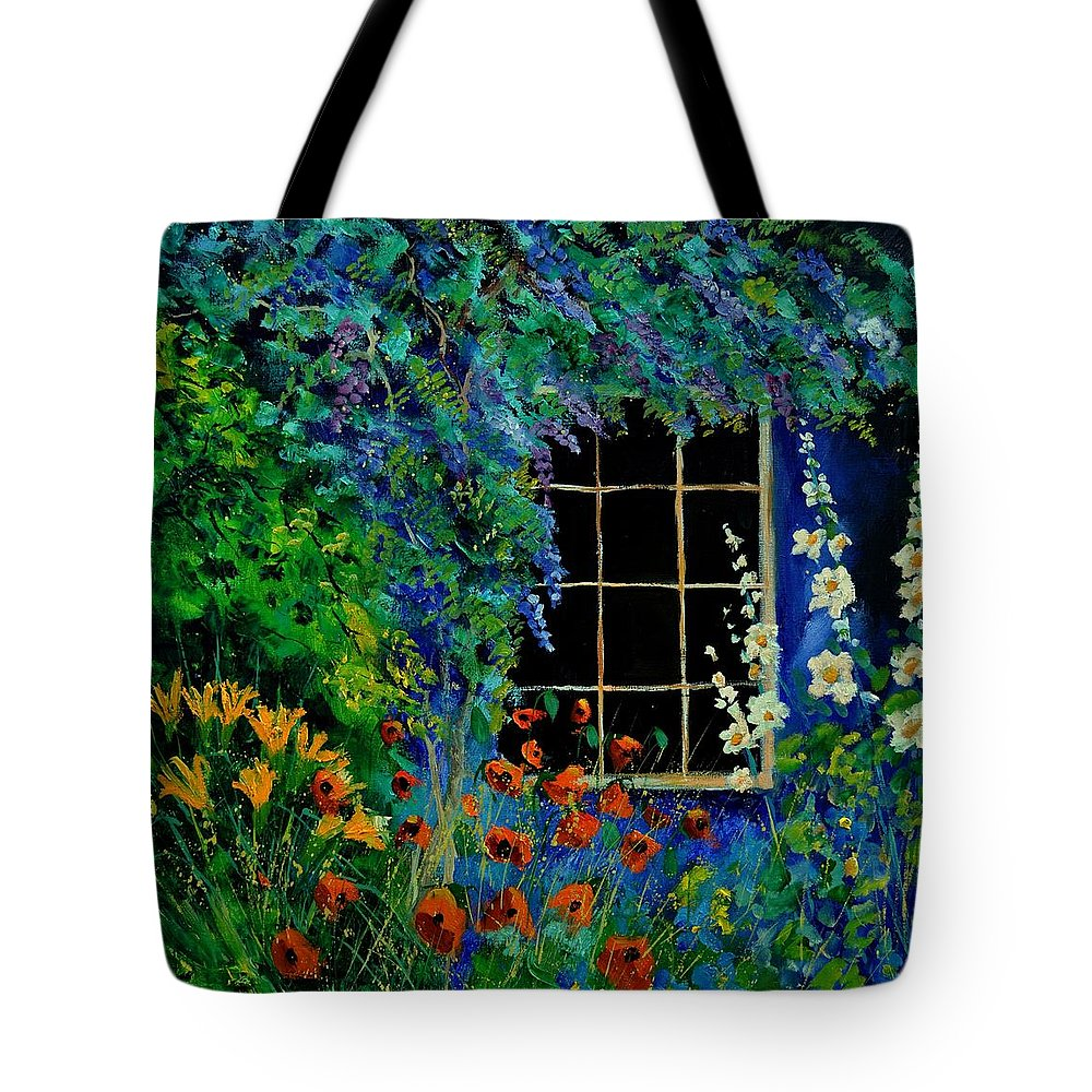 Flowers Tote Bag featuring the painting Garden 88 by Pol Ledent