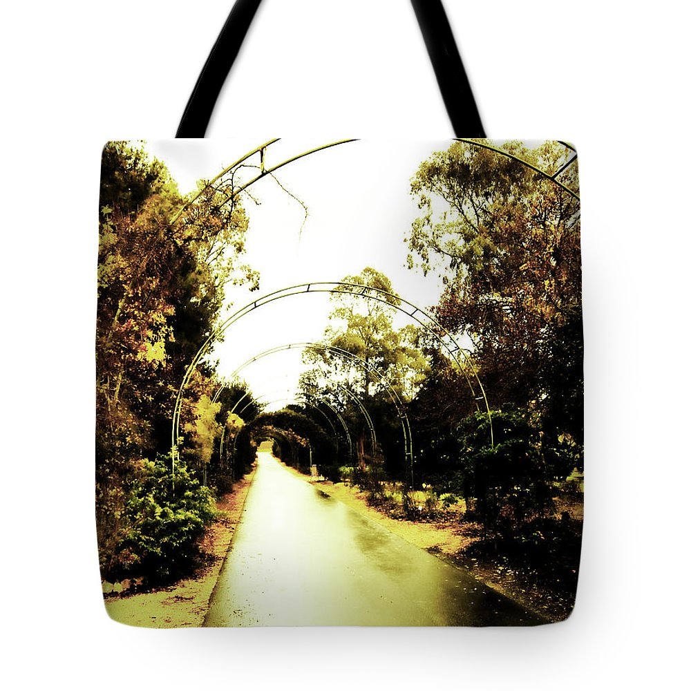 Arches Tote Bag featuring the photograph Garden Arches Of Gold by Douglas Barnard