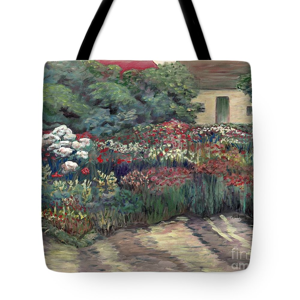 Breck Tote Bag featuring the painting Garden At Giverny by Nadine Rippelmeyer