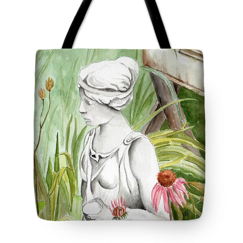 Watercolor Scenery Color Rural Garden Statue Woman Gardening Plants Flower Green Tote Bag featuring the painting Garden Beauty by Brenda Owen