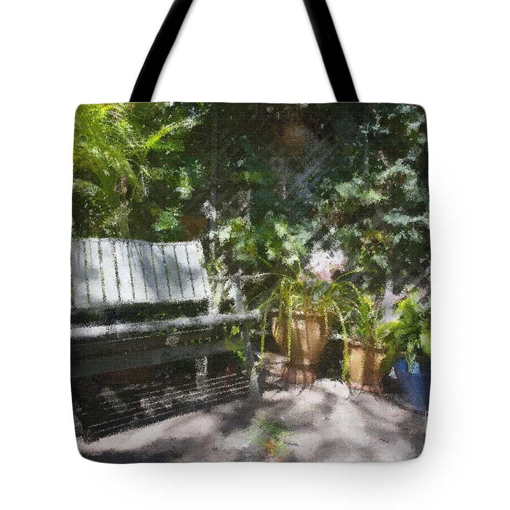 Garden Bench Flowers Impressionism Tote Bag featuring the photograph Garden Bench by Sheila Smart Fine Art Photography
