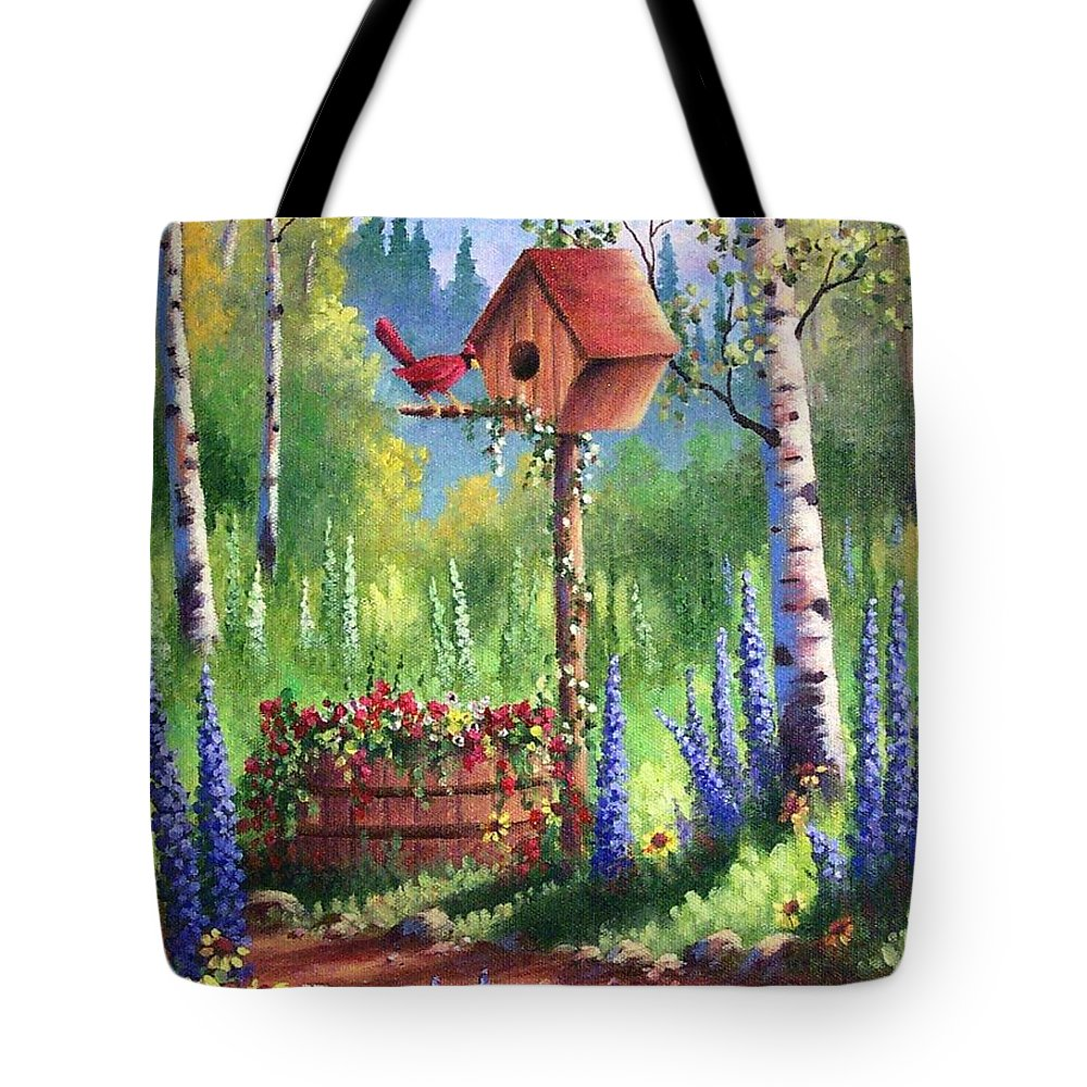Bird Tote Bag featuring the painting Garden Birdhouse by David G Paul