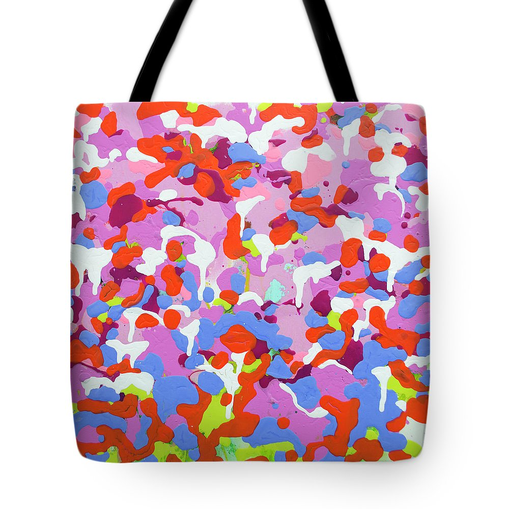 Abstract Tote Bag featuring the painting Garden Camo by Claire Desjardins