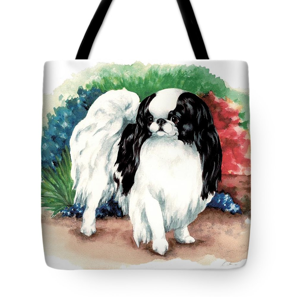 Japanese Chin Tote Bag featuring the painting Garden Chin by Kathleen Sepulveda