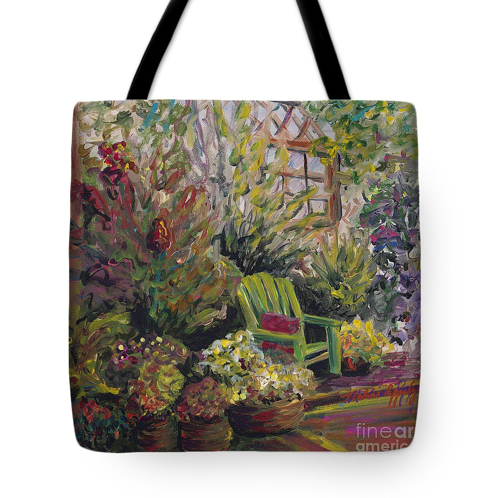 Green Tote Bag featuring the painting Garden Escape by Nadine Rippelmeyer