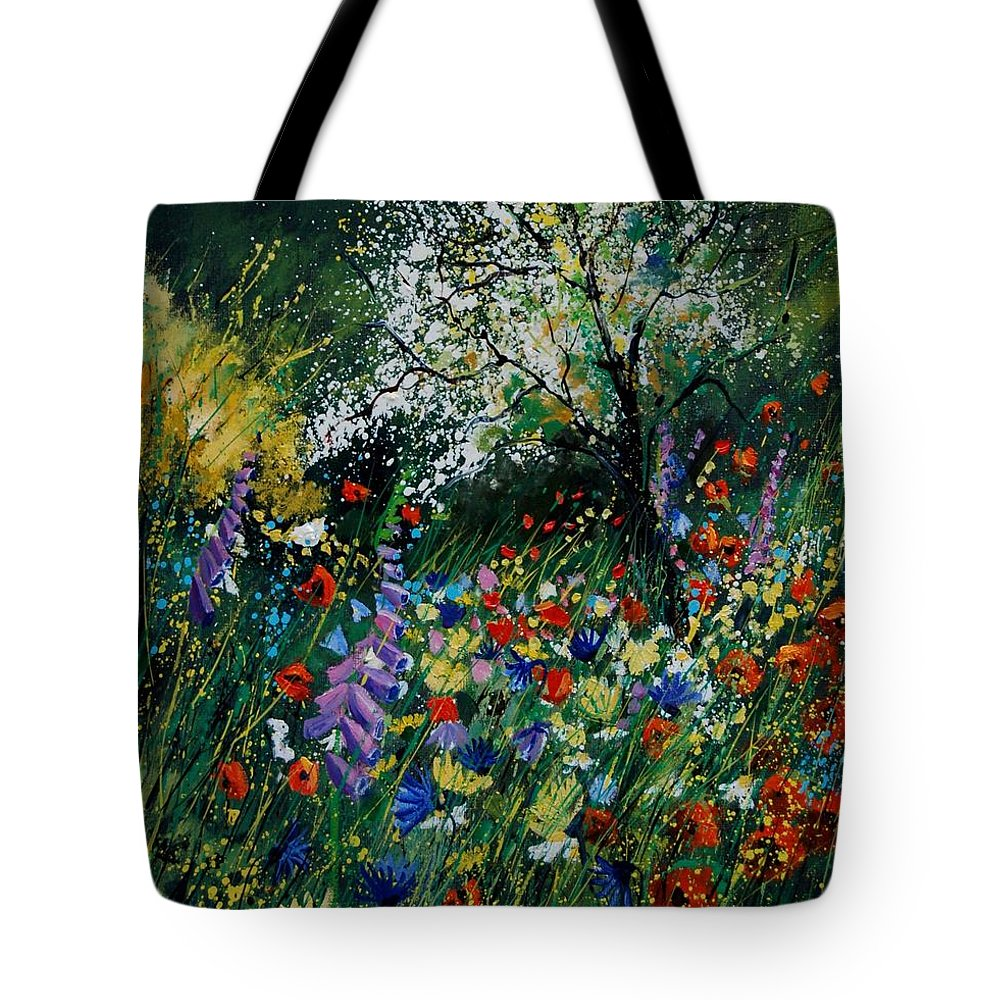 Flowers Tote Bag featuring the painting Garden Flowers by Pol Ledent