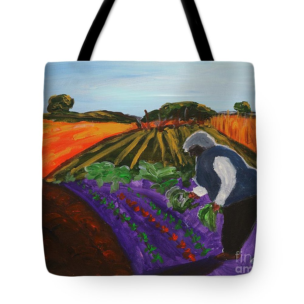 Abstracted Landscape Tote Bag featuring the painting Garden In The Field by Lidija Ivanek - SiLa